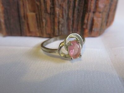 Vintage Sterling Silver Plate Pink Sapphire Ring Size 8