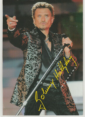 johnny  hallyday    :  carte postale  plastifiée