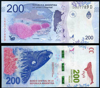 Argentina 200 Pesos Nd 2018 P New Design Series D Unc