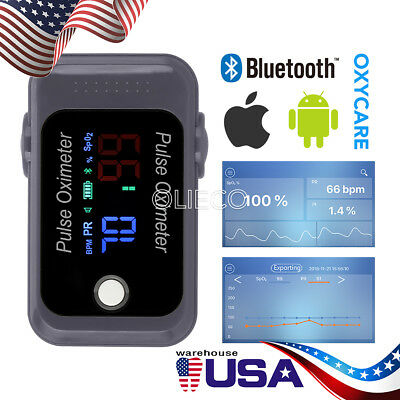 US Bluetooth Fingertip Finger Pulse Oximeter Blood Oxygen Monitor IOS Android