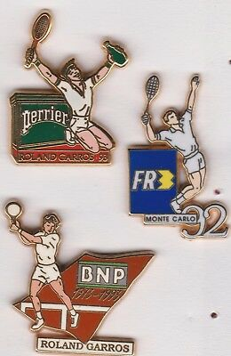 lot de 3 tennis PIN 1992 -1993 roland garros BNP/ FR3 / PERRIER