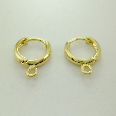 2pcs (1 pair) Genuine 14k Gold Round Earring Hoops with Loop Connector 12mm dia.