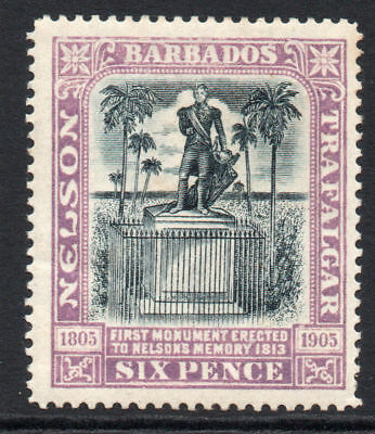 Barbados 6 Pence Stamp c1906 Mounted Mint (tiny gum tone)