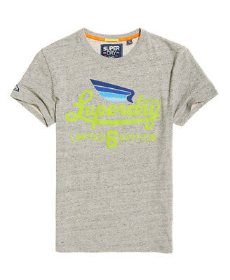 New Mens Superdry Limited Icarus T-Shirt Grey Birdseye