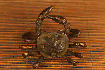 Table chinese old bronze hand carved crab statue netsuke collectable GIFT