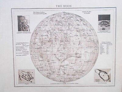 Map of the Moon.Celestial. Craters. Areas.