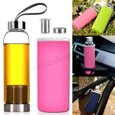 550ml Sports Gym Glass Juice Tea Water Bottle Drink Cup Filter Infuser Travel AU