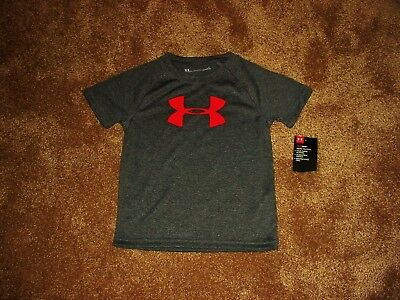 NWT Boys Toddler 3T Under Armour Heat Gear S/S Poly T Shirt Top UA Logo Cgh/Red