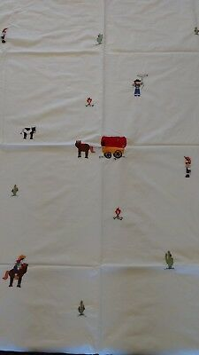 Lovely White Cot bed Duvet Cover Embroidered Cowboys