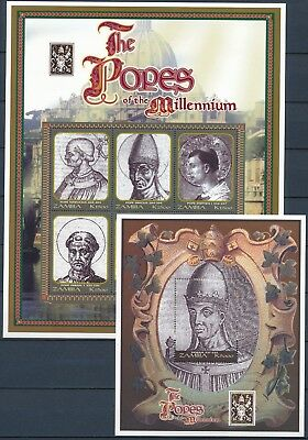 [HF15051] Zambia 2000 POPES OF THE MILLENIUM Good set of 2 sheets very fine MNH