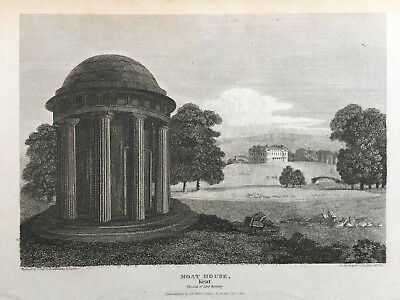 1812 Antique Print; Mote House, Maidstone, Kent after Storer