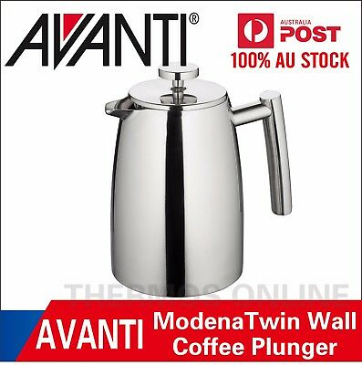 Avanti Modena Twin Wall Coffee Plunger 350ml or 800ml or 1L Stainless Steel