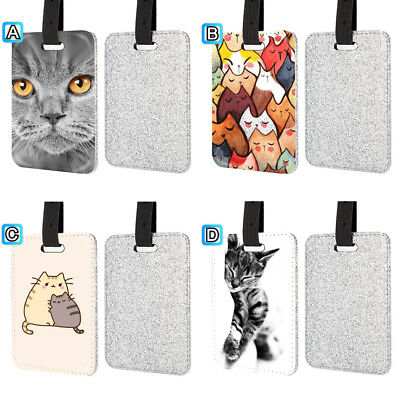 Lazy Cat Kitten Lovely Leather Glitter Luggage Tag Travel Bag Silver