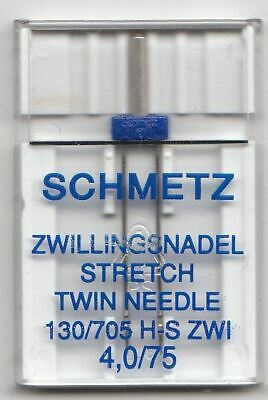 Schmetz Sewing Machine Needles, TWIN STRETCH, Size 4.0/75 Pack of 1 Needle