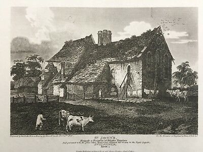 1807 Antique Print; Swingfield Preceptory, Kent after George Cooke