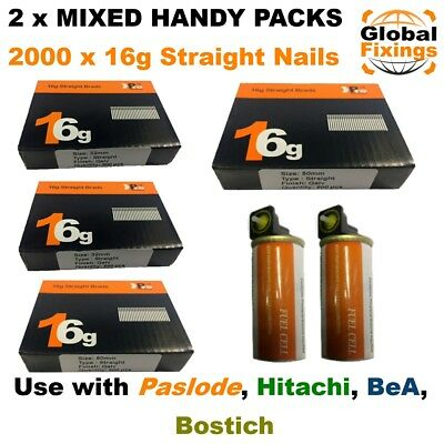 MIXED 32mm x 1000 +50mm x 1000 16g STRAIGHT & 2 x Fuel Cell for Paslode IM65/250