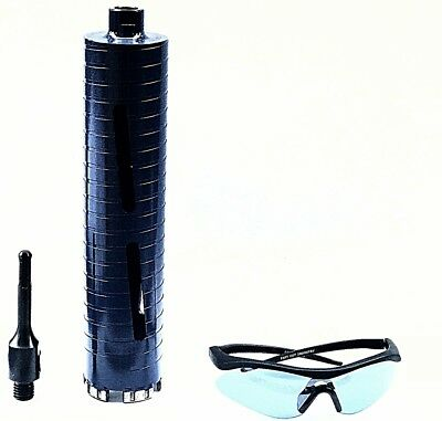 Dry core bit with SDS Plus adapter and safety glasses sizes 1'' to 4 1/2''