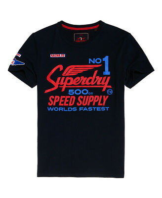 New Mens Superdry 500Cc Moto T-Shirt Eclipse Navy