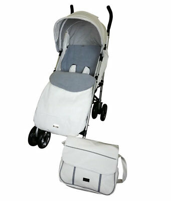 New Babyco massimo leatherette pushchair white & grey with bag footmuff & pvc 0m
