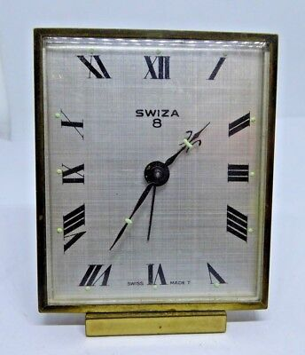 Vintage SWIZA 8 Hand Winding Mechanical Swiss Made Travel Alarm Clock