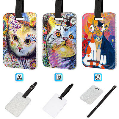Cat Kitten Oil Painting Pretty Leather Glitter Luggage Tag Travel Bag Silver