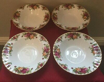 4  Vintage Royal Albert Old Country Roses Rimmed Soup Bowls Excellent Condition