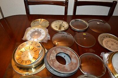 Antique Clock Parts 43 Items Dials/bezels/domed Glass/barometes Parts.