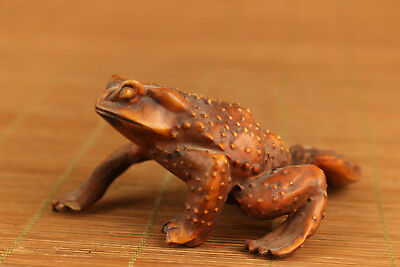 rare old chinese Boxwood hand carving jin chan frog statue Pendant netsuke