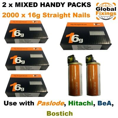 MIXED 50mm x 1000 +64mm x 1000 16g STRAIGHT & 2 x Fuel Cell for Paslode IM65/250