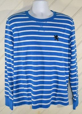 Express Waffle Euc Blue White Stripes Crew Neck Sweater
