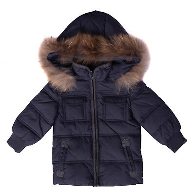 ASTON MARTIN Quilted Jacket Size 3-6M Raccoon Fur Trim Detachable Hood RRP €190