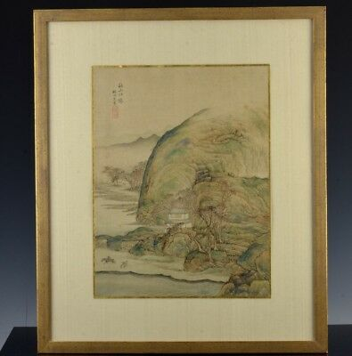 Fine Antique Chinese Painted Silk Mountain Landscape Framed Scroll Seal Marks 2