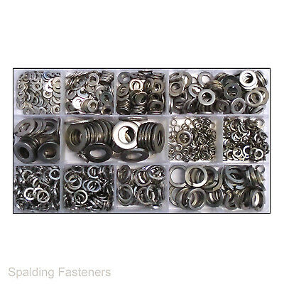 800 Assorted Metric A2 Stainless Steel Flat & spring Washers M3 M4 M5 M6 M8 M101