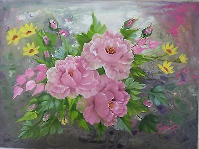 "PINK ROSES - Original Oil Floral Painting  Gini R -  12 x 16""  (215-113)"