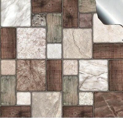 Mosaic Effect Tile Sticker Transfer 24 Pack Bathroom Kitchen Stone Brick Style