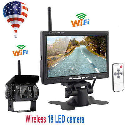 """7"""" Monitor Wireless IR Rear View Back up Camera Night Vision System for RV Truck"""