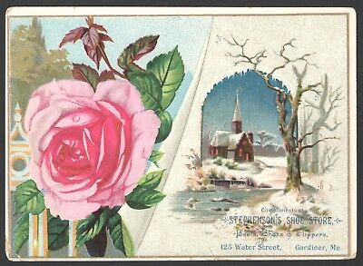 LG Victorian Trade Card Stephenson's Shoe Store Gardiner ME Boots Shoes Slippers