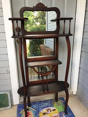 Victorian Style Mahogany Etagere With 3 Mirrors