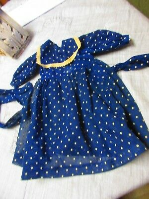 Antique  Vintage  Navy Blue Doll  Dress  with Poke Dot  14 ""