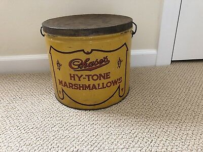 Antique Vintage Antique Hy-Tone Marshmallows Tin Yellow & Red Large