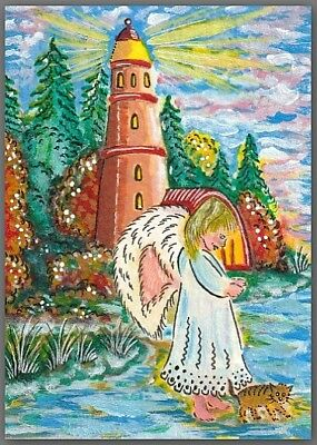 ACEO painting Fantasy - animal cat kitty kitten forest girl angel lighthouse sea