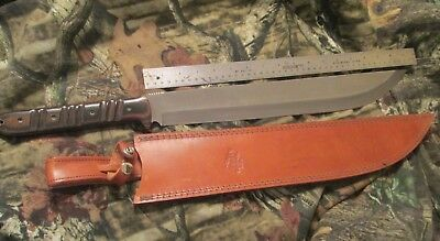 """iPak Survival USA 17"""" D2 Carbon Steel Blade Drop Point, Leather Sheath"""
