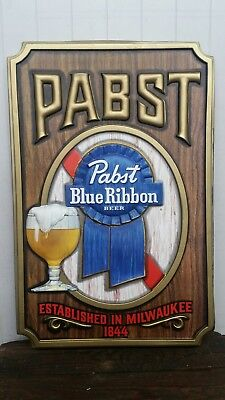 VINTAGE DEADSTOCK PABST BLUE RIBBON BEER SIGN embossed plastic excellent large