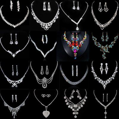 Silver Wedding Bridal Bride Crystal Rinestone Necklace Earrings Chic Jewelry Set