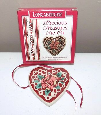 Longaberger 1995 Precious Treasures Heart Shaped Flower Design Ceramic Tie-On