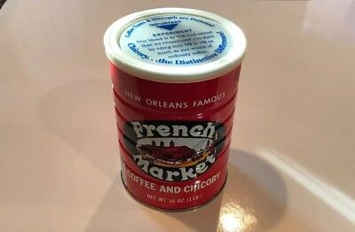 Vintage Empty New Orleans Famous French Market Coffee & Chicory 1lb Tin Can