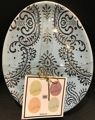 (Set of 4) 222 Fifth Spring Lace - Egg Shaped Appetizer/Dessert Plates / New