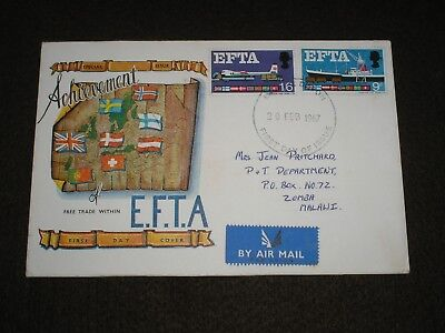1967 GB Stamps EFTA First Day Cover AIR MAIL - EXTER DEVON To MALAWI Cancel FDC