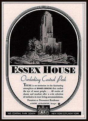1934 Ad Essex House Hotel Overlooking Central park