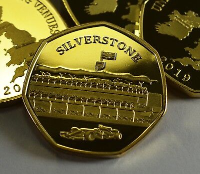 SILVERSTONE 24ct Gold Commemorative Coin Albums/50p Collectors NEW 2019 SERIES